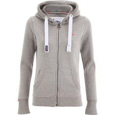 Superdry Women's Orange Label Primary Zip Hoody - Snowy Ash (125 BRL) ❤ liked on Polyvore featuring tops, hoodies, grey, hooded pullover, zip hoodies, superdry hoodie, hooded zip sweatshirt and grey hooded sweatshirt