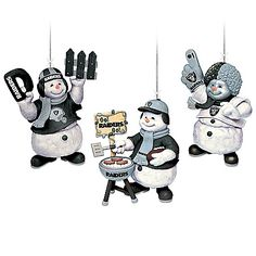 Oakland Raiders Coolest Fans Ornament Collection Sets of three Oakland Raiders snowman ornaments dressed as festive fans. NFL officially licensed with official Raiders colors and team logos. Measure H Raiders Stuff, Raiders Fans, Oakland Raiders, Green Bay Packers Game, Raider Game, New England Patriots Football, Raider Nation, Indianapolis Colts, Bradford Exchange