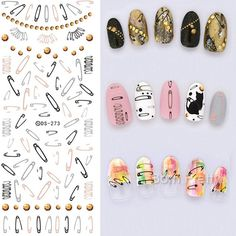 $0.99 Nail Art Water Decals Transfer Stickers Colorful Wavy Stripes Arabesque Floral DIY Pattern - BornPrettyStore.com