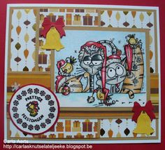 carlasknutselateljeeke: Cheerful Sketches, challenge #43, DT kaart (Cat Topper Christmas/Bugaboo)