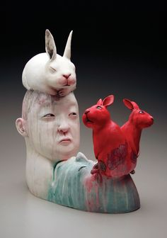 """Gunyoung Kim and her piece, """"Dictator"""" can be found in the Emerging Artists section of the May 2016 issue of Ceramics Monthly.  Dictator, 20 in. (51 cm) in height, handbuilt stoneware, terra sigillata, underglaze, fired to cone 03, acrylic, 2015."""