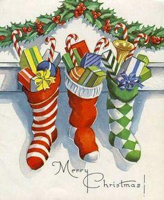 vintage xmas stockings card