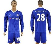 Chelsea #28 Azpilicueta Home Long Sleeves Soccer Club Jersey