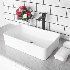 White Vessel Sink, Rectangular Vessel Sink, Vessel Sink Vanity, Bathroom Sink Vanity, Sink Faucets, Master Bathroom, Sinks, Modern Bathroom, Small Bathroom