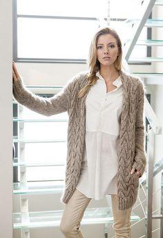 Lana Grossa CARDIGAN MIT ZOPFMUSTER Oro/Silkhair Melange - FILATI Handstrick No. 55 (Home) - Modell 73 | FILATI.cc WebShop