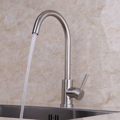 Brushed nickel arching kitchen mixer tap with single lever. Sold at US$106.99