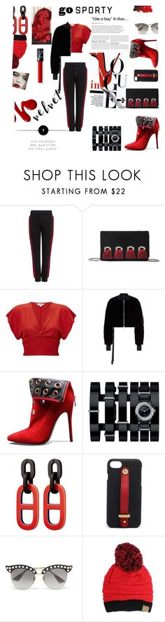 """red jogger velvet"" by jes4me530 on Polyvore featuring Public School, Giuseppe Zanotti, Miss Selfridge, Unravel, Chanel, Henri Bendel and Gucci"