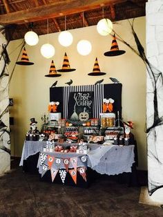 Orange and black Halloween party! See more party planning ideas at CatchMyParty.com!