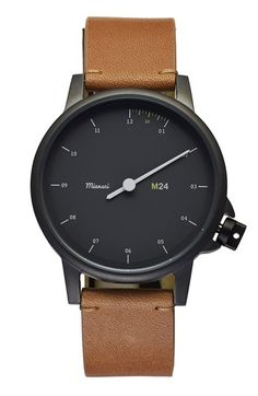 Miansai 'M24' Round Leather Strap Watch, 35mm available at #Nordstrom