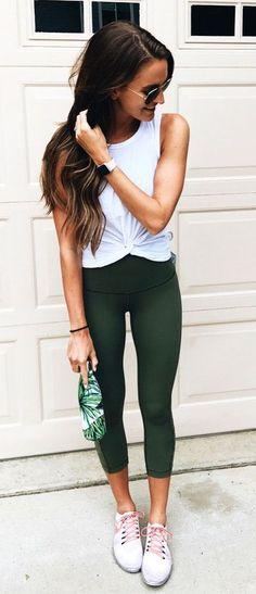 green leggings athleisure