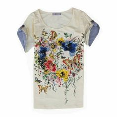 Floral Garden Two-sided Pattern Slim T-shirt on Wanelo