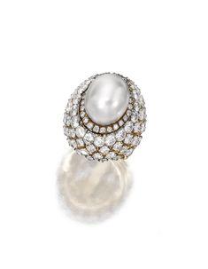 18 Karat Gold, Platinum, Cultured Pearl and Diamond Ring, David Webb - Sotheby's