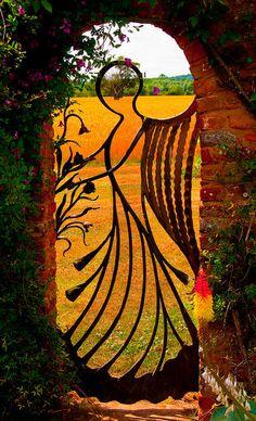 angel garden gate - this is stunning! A real statement piece as you enter a garden. Angel Garden, My Secret Garden, Secret Gardens, Garden Spaces, Garden Oasis, Doorway, Dream Garden, Yard Art, Garden Inspiration