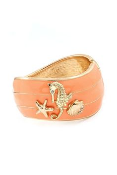 Elements of the sea bracelet cuff in peach and gold