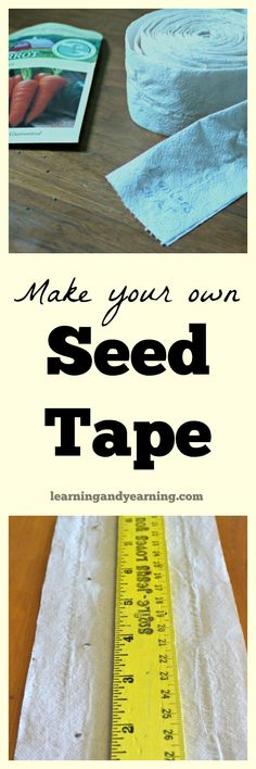 """Seed tape is a great product for planting your garden that has seeds embedded right into it. It's perfect for planting tiny seeds like carrot that are difficult to space in the garden. The """"tape"""" is made of bio-degradable paper which is planted directly into your garden. I love using seed tape, although it tends to be pricey. But you can make your own seed tape for a fraction of the cost of pre-made tape."""