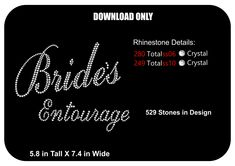 DOWNLOAD ONLY- Bridal -Bachelorette -Bride - Bride's Entourage -  Rhinestone Transfer Template-Pattern-Stencil - DIY - Sticky Flock Template - pinned by pin4etsy.com