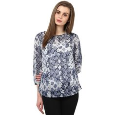 Blue Snake Print Top at #Celebstall  #tops #tees #fashion #style #trendy #onlineshopping #sale #discount  http://goo.gl/NG6jUQ