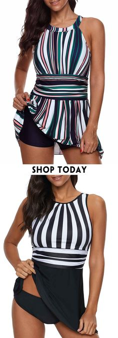 Keyhole Back Striped One Piece Swimdress/ Halter Neck Cutout Back Printed Swimdress and Shorts Kinds Of Clothes, Clothes For Women, Latest Fashion For Women, Womens Fashion, Striped One Piece, Vintage Swimsuits, Plus Size Swimsuits, Beachwear, Swimwear