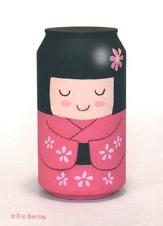 Kokeshi figure made from a Diet Coke can.