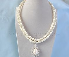 double-layer pearls rhinestone wedding evening ball necklace set   eBay...nice