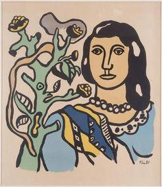 'der frau und der blume', 1954 von Fernand Leger (1881-1955, France)