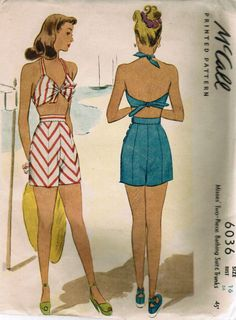 McCall 6036; ca. 1945; Misses' Two-Piece Bathing Suit & Trunks. Cutee halter top ties at neck and waistline and is gathered in center bodice. Includes shorts and trunks patterns. Shorts have side button closure. Featured in McCall Style News, April 1945