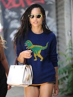 Star Tracks: Tuesday, June 28, 2016 | FEROCIOUS FASHION  | On Monday, Zoë Kravitz rocks a dinosaur sweater while out in N.Y.C.