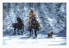 Western Art Wild Horse Winter Landscape Open by Brushedmemories, $25.00