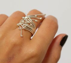 sterling silver ring winter branches handmade by lolide by lolide