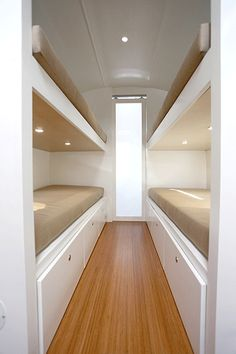 Love the bunks and large couch in this 31' Airstream!