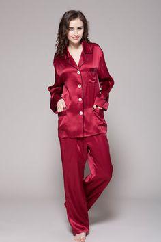 Two-piece set 100-percent high quality silk suit pajamas are full-length with custom plus size. #pajamas #silk #lilysilk