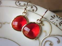 Garnet Red Earrings in Gold - perfect for weddings