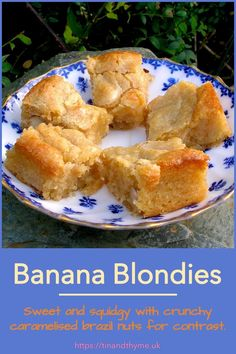 Sweet and squidgy white chocolate banana blondies with crunchy caramelised brazil nuts for contrasting texture and flavour. When you've got overripe bananas and need something sweet, just whip yourself up a batch. They don't take long. #TinandThyme #BananaBlondies #BrazilNuts #BananaRecipes #blondies Caramel Recipes, Banana Recipes, Tart Recipes, Cheesecake Recipes, Dessert Recipes For Kids, Cupcake Recipes, Banana Blondies, Overripe Bananas, Blondie Brownies