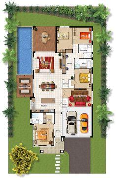 Casa con piscina, 4 cuartos, oficina y teatro en casa. Contemporary House Plans, Modern House Plans, Small House Plans, Sims 4 House Building, Sims House, Dream House Plans, House Floor Plans, Circle House, Indian House Plans