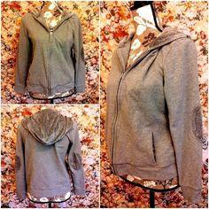 Talbots Hoodie Velour Elbow Patches Trim Gray Full Zip Petite Sz Large PL Jacket #Talbots #Hoodie