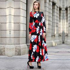 Find More Information about 2015 Autumn Long sleeve Dress Plus Size Female Floral Print Slim Long Design A line Full Dresses Free Shipping Women,High Quality dress international shipping,China dress zipper Suppliers, Cheap dress shoes baby girl from June Day on Aliexpress.com
