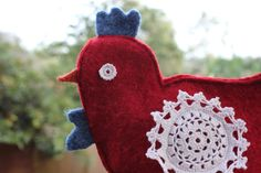red mama chook puppet // handmade felted wool by birdiesaid, $15.00