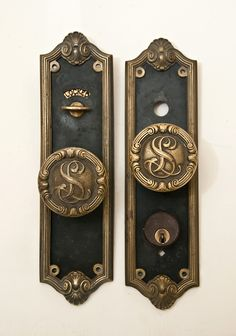 Antique 1890 Cast Iron Neo Classical Entry Door Lockset Set Knob Plate Lock  Keys | Cast Iron, Key And Iron