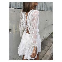 White Lace Up Back Bell Sleeve Lace Dress (330 DKK) ❤ liked on Polyvore featuring dresses, lacy dress, lace front dress, laced dress, lace bell sleeve dress and white dress