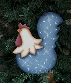 wood chicken ornament christmas chicken by countrylanefolkart
