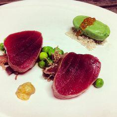 Tuna, shad roe, peas, sorrel ice cream, preserved cherry blossom, brown butter vinaigrette. (citygrit)