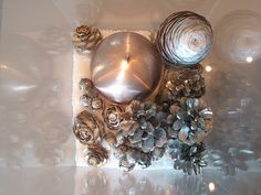 plexiglass box , salt, pine cones and spray silver and gold for stunning and super easy Christmas centerpiece DIY