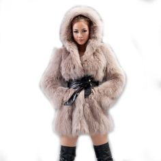 Amazon.com: Women's Fox Fur Coats Fox Fur Jackets (Khaki): Clothing