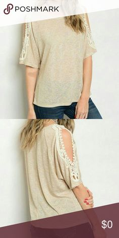 🌟CLEARANCE🌟CROCHET TRIM SLIT SLEEVE TOP GREAT TOP FOR SUMMER AND FALL!  Beautiful crochet trimmed slit sleeve top. Relaxed fit.  56% Rayon 44% Spandex Made in USA Threadzwear Tops