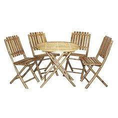 Bamboo54 Wood 5 Piece Round Patio Dining Set ** More info could be found at the image url.