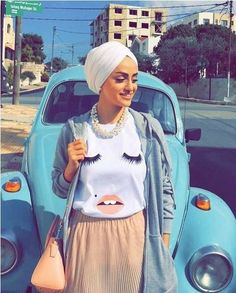 Blink tee hijab style-Candy colors hijab outfits – Just Trendy Girls Modern Hijab Fashion, Muslim Fashion, Modest Fashion, Fashion Outfits, Hijab Style, Turban Style, Hijab Chic, Turban Outfit, Hijab Outfit