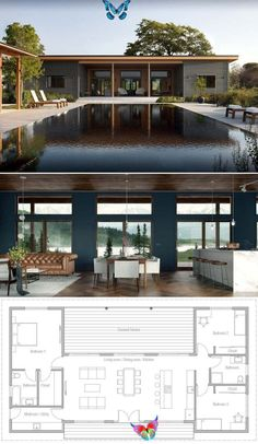 Home Plan, House Designs, Floor Plans #smallhouse #smallhouseplans  #architecture #architect<br> Pool House Designs, Small House Design, New Home Designs, Home Design Plans, Modern House Design, Plan Design, Plans Architecture, Modern Architecture House, Architecture Design