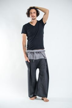 Unisex 2-Tone Pin Stripes Thai Fisherman Pants in Black
