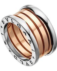 bvlgari bulgari inspired bzero1 14ct pinkrose and white gold ring