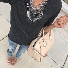 Statement necklace + single strap heel.